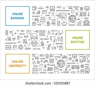 Vector line concept online doctor. Linear banner online education. Modern web symbol for online banking.