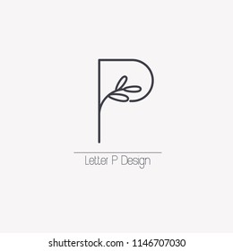 Vector line decorative letter P logo with decorative elements in the form of an elegant leaf branch.