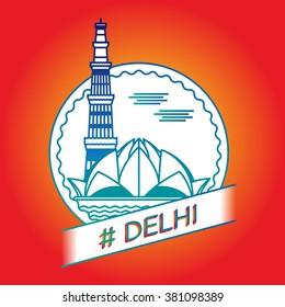 vector line delhi badge sign icon