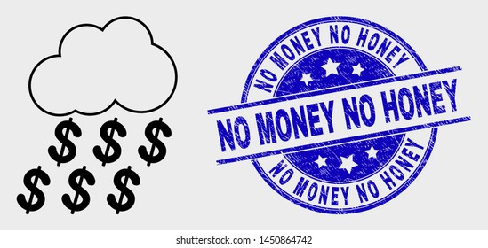 Vector line dollar rain cloud pictogram and No Money No Honey stamp. Blue round textured stamp with No Money No Honey phrase. Black isolated dollar rain cloud pictogram in line style.