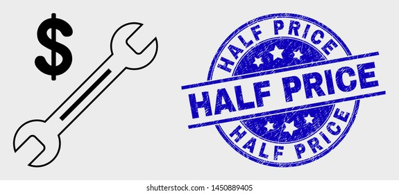 Vector line dollar wrench pictogram and Half Price stamp. Blue rounded scratched seal stamp with Half Price text. Black isolated dollar wrench pictogram in contour style.