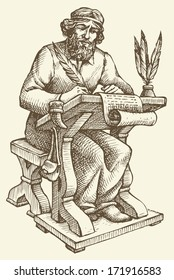 Vector line drawing of an ancient chronicler with a pen and a sheet of parchment at his desk