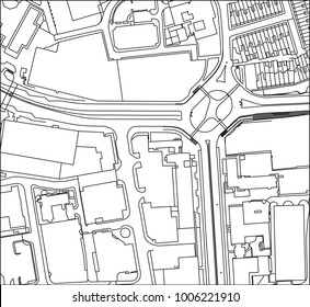vector line drawing of a busy city or town from above