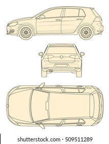 Vector line drawing car