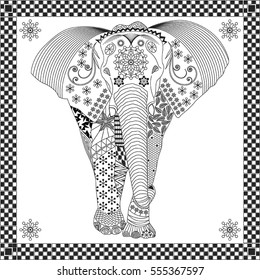 Vector line drawing of elephant designed for coloring book.