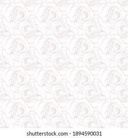 Vector line drawing illustration of rose flowers. Abstract versatile art pattern. For fabric, wrapping paper, wedding invitations, notepad, flyer, cover, banner, textile, etc.