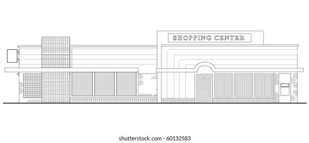 vector  line drawing illustration of a strip mall or shopping center building viewed from front elevation on white background