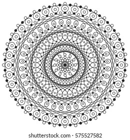 Vector line drawing of mandala  designed for adult coloring.