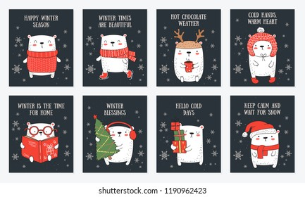 Vector line drawing postcard collection of cute winter bears and cozy slogan in flat design. Doodle illustration. Winter holidays, baby shower, birthday, children's party