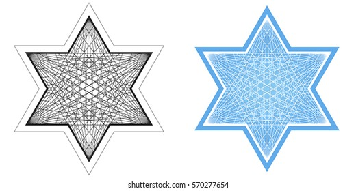 Vector line drawing of Star of David in black and white and blue and white.
