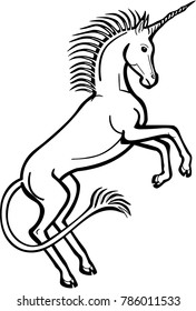 Vector line drawing of a unicorn rearing on its hind legs