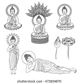vector line drawing variety of buddha gesture