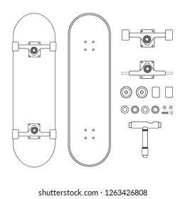 Vector line drawn skateboard parts isolated on white. Deck, trucks, wheels, tool, bolts and bearings.