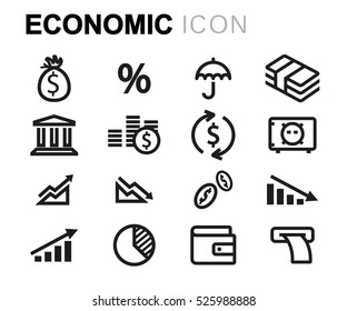 Vector line economic icons set on white background