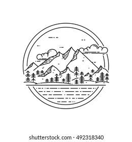 Vektorlinienemblem mit Berglandschaft, Wald, Meer und Wolken. Reisekonzept, schönes Gütezeichen für Naturerforschung