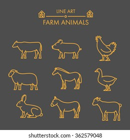 Vector line farm animals icon set. Linear figure cow, pig, chicken, horse, rabbit, goat, donkey and sheep.