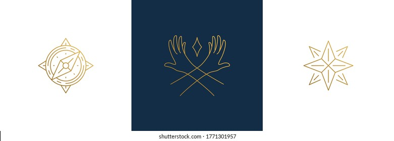 Vector line feminine decoration design elements set - star and female gesture hands illustrations minimal linear style. Collection mystical outline graphics for logo emblems and product branding