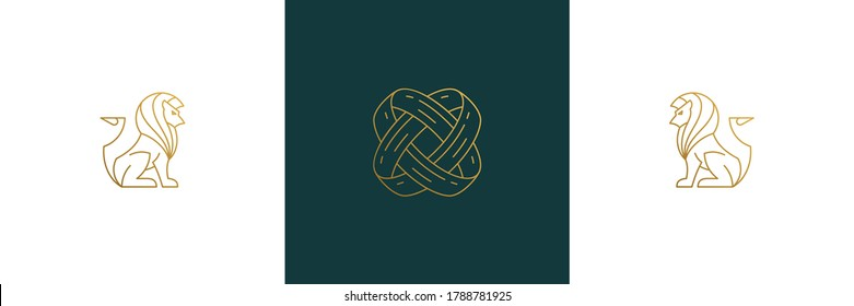 Vector line feminine decoration design elements set - lions and rings illustrations minimal linear style. Collection outline graphics for logo emblems and product branding