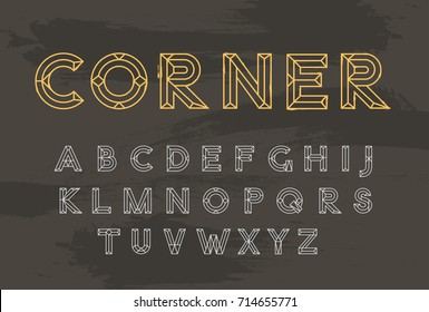 Vector Line Font. Trendy Style Typeface. Letters from A to Z. Modern Design.
