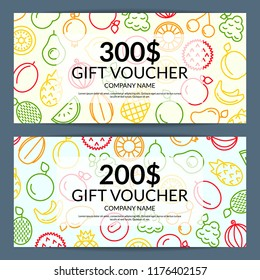 Vector line fruits icons discount or gift voucher templates illustration. Sale card fruits, gift banner offer promotion