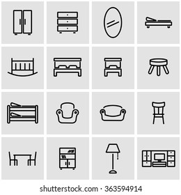 Vector line furniture icon set.