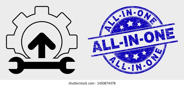 Vector line gear integration arrow icon and All-In-One seal stamp. Blue round grunge seal with All-In-One title. Black isolated gear integration arrow icon in linear style.