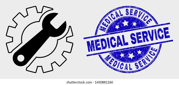 Vector line gear tools pictogram and Medical Service seal stamp. Blue rounded scratched seal stamp with Medical Service message. Black isolated gear tools pictogram in linear style.