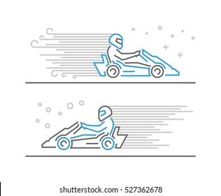 Vector line go kart symbol and icon. Modern outline karting logo.