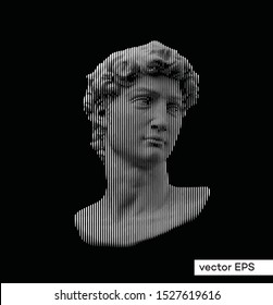 Vector line halftone black and white illustration of classical roman and greek statue bust of male figure from 3D rendering.
