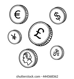 vector line hand drawn coins. Black and white money. Sketch style, isolated on white background. World currency
