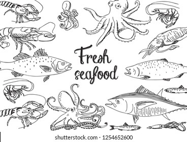 Vector line hand drawn seafood restaurant illustration. Great for menu, banner, flyer, card, seafood business promote.