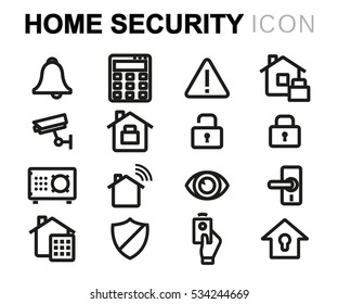 Vector line home security icons set on white background