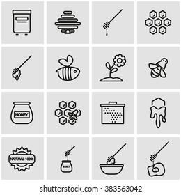 Vector line honey icon set