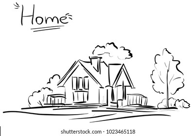 Vector line house and trees