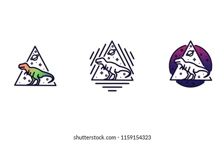 Vector line icon with dinosaur similar to tyrannosaurus rex, space, stars and planet in geometric shapes. Template for logo or print illustration