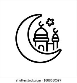 Vector line icon for eid ul fitr