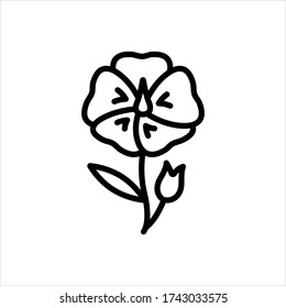 Vector line icon for flax flower