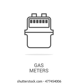 Vector line icon gas meter. Web graphics, banners, business templates. Isolated on a white background.