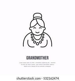 Vector line icon of happy old person. Nursing home sign, linear logo. Outline symbol of grandmother, elderly care. Design element for sites, senior hospital