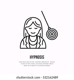 Vector line icon of happy woman on hypnotherapy. Hypnosis sign, psychology linear logo. Outline symbol of smiling girl with pendulum. Design element for sites, clinic