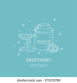 Vector line icon of jar full of honey, flowers and spoon with honey. Logo design for honey factory or sweet production company. Vector illustration in thin line style.