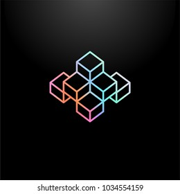 Vector line icon or logo element on dark background