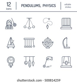 Vector line icon of pendulum types. Newton cradle, metronome, table pendulum, perpetuum mobile, gyroscope. Linear logo, pictogram editable stroke for site, brochure of hypnosis, hypnotherapy.