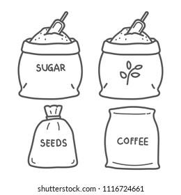 Vector line icon sacks bag coffee sugar rice seed