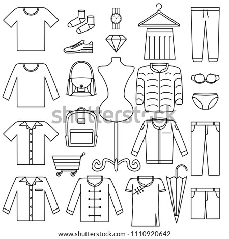 Vector Line Icon Set Fashion Sale Stock Vector Royalty Free