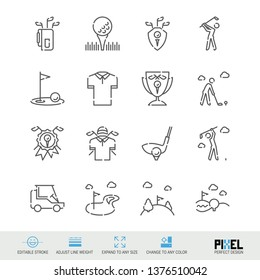 Vector Line Icon Set. Golf Related Linear Icons. Country Club Symbols, Pictograms, Signs. Pixel Perfect Design. Editable Stroke. Adjust Line Weight. Expand to Any Size. Change to Any Color.