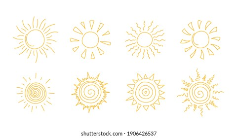 Vector line icon set with simple doodle sun.