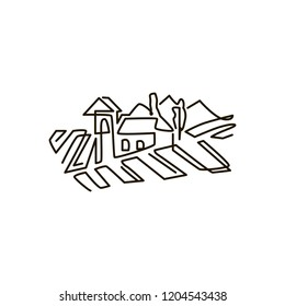 Vector Line icon. Vineyard landscape. One line drawing. Isolated on white background. Continuous single one drawn line