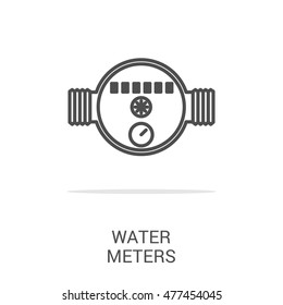 Vector line icon water meter.  Web graphics, banners, business templates. Isolated on a white background.
