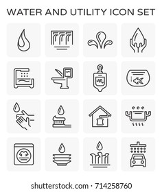 Vector line icon of water usage and utility.